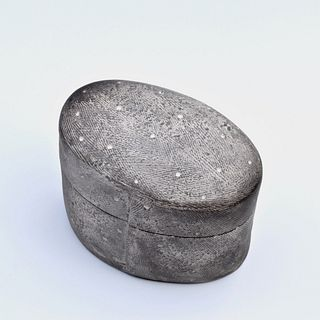 Oval Smoke Fired Box with Texture and Small Dots