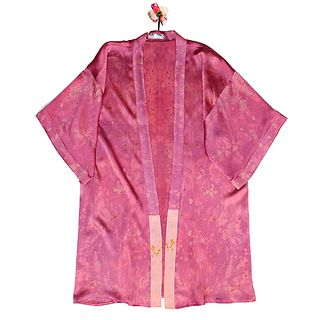 Pink silk kimono: eco-printed and hand dyed