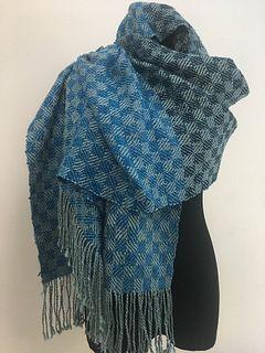 Handwoven, Hand-dyed Shawl of Spun Silk