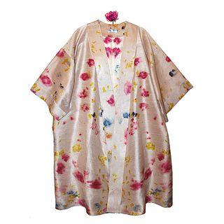 Raw silk kimono duster: Pink, yellow, beige, blue