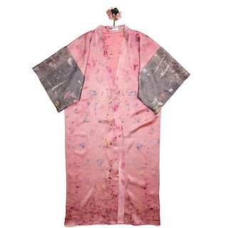 Long pink silk satin kimono duster: Steel, magenta, yellow