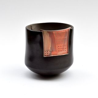 Slab Bowl with Orange Painterly Patch