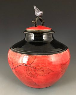 Sumi-e Bird Jar in Red and Black with Oriental Knob