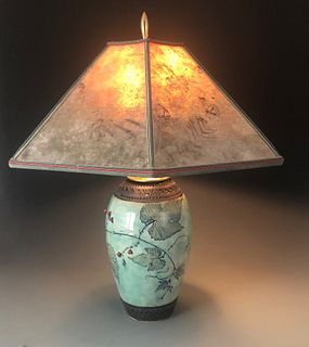 Wild Grapevine Lamp in Celadon with Red Berries