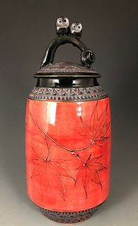 Double Owl Jar with Japanese Maple in Poppy