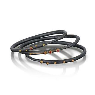 Twig Bracelet, Red tone sapphires Set