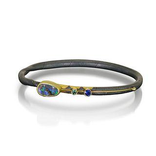 One of a kind Opal twig bracelet — sapphire-tourmaline. Size large