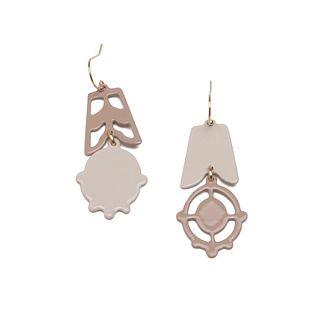 2pc Asymmetrical Dangles in ballet grey and light tan