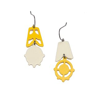 2pc Asymmetrical Dangles in bright yellow and pale yellow