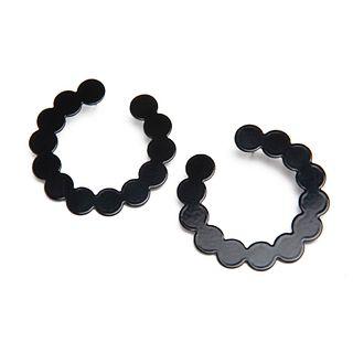 Pearl Side Hoops in black