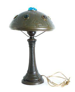Fantastic Austrian Table Lamp w/Chunk Glass Jewels
