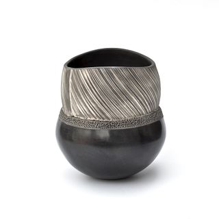 Hand Coiled Smoke Fired Vessel