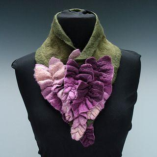 'Parmalia' Scarf - Purple on Green