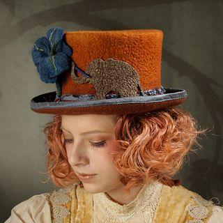 Painting Elephant Top Hat - Dark Orange