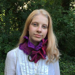 Ruffled Silk and Wool Collar - Purple & Fuchsia