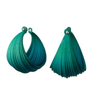Pleated Hoops - Blue/Green