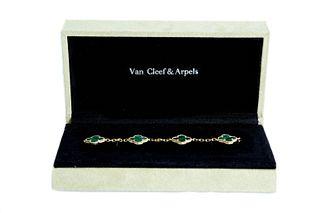 Attr. VCA 18K YG Malachite Alhambra Bracelet