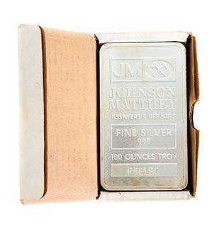 Johnson Matthey 100 ounce Silver Bar in Box