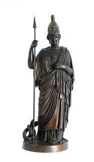 Continental Bronze Figural Sculpture of Athena