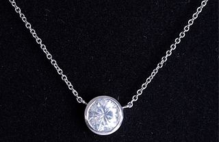 Italian 14K WG & 1CT Diamond Pendant Necklace