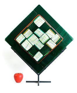 Large Fused Metallic Art Glass Sculpture on Stand