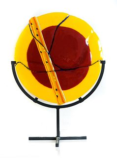 Large Fused Glass Disc on Stand, Signed