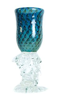 Hand Blown Art Glass Vase or Chalice, Signed 1989