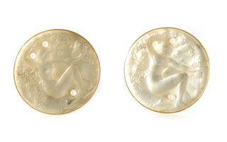 Pair, R. Lalique 14K YG 'Chose Promise' Cufflinks