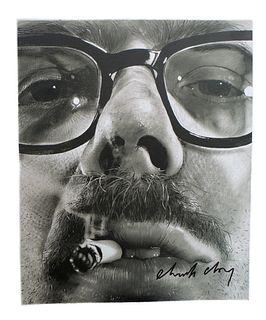 Chuck Close Portrait Photo Lithograph, Signed