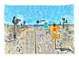 David Hockney Poster Pearblossom Highway, Signed