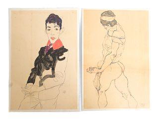 Egon Schiele Two Portraits: Woman & Man Print