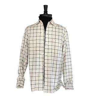 Cream and Black retro plaid shirt