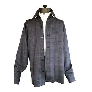 Classic navy glen plaid with red overplaid