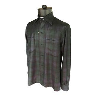 Blackwatch plaid shirt green and blue