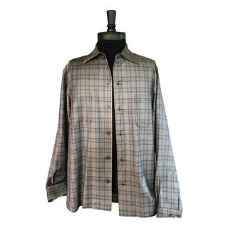 Taupe and baby blue soft lightweight plaid
