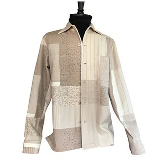 Mixed pattern soft brown and cream shirt