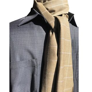 Tan olive super120's plaid large scarf