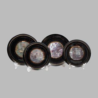 Lote de 4 platos decorativos. Inglaterra Siglo XX. Elaborados en cerámica color negro. Diferentes tamaños. 30 cm. Ø (mayor)