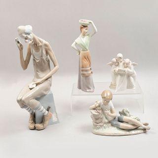 Lote de 4 figuras decorativas. España. Siglo XX Elaborados en porcelana, una Lladró. Consta de: Payaso, Niño, Ángeles y Dama.
