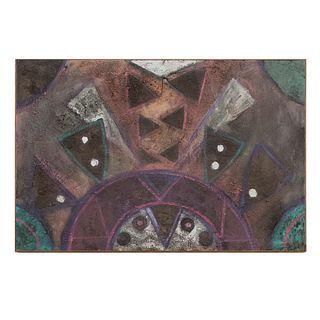 Mario Monttero. Sin título. Firmado. Óleo y arena sobre tabla. Sin enmarcar. 80 x 124 cm.