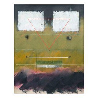 """Sergio Alonso. """"La página en blanco"""". Firmado y fechado '84. Acrílico sobre tela. Enmarcado. 100 x 80 cm."""