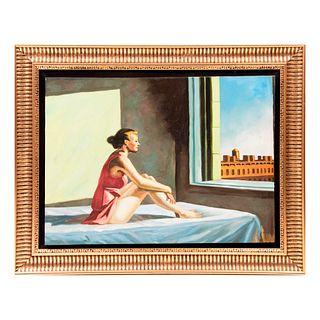 """""""Morning Sun"""". Reproducción de la obra de Edward Hopper. Óleo sobre lienzo. Con marco. 60 x 80 cm"""