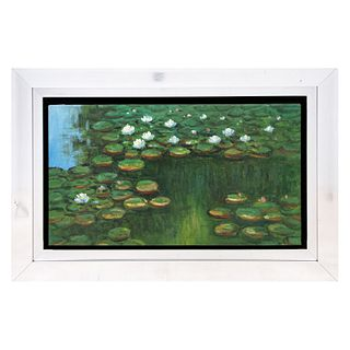 """""""Waterliles"""". Reproducción de la obra de Claude Monet. Óleo sobre lienzo. Con marco. 48 x 87 cm."""