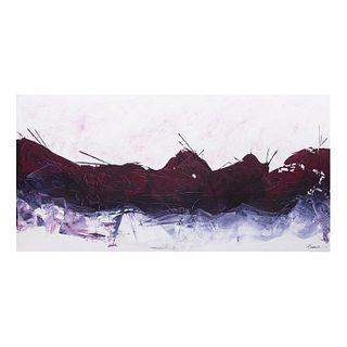 P. Tommasi. Sin título. Firmado. Óleo sobre tela. Sin enmarcar. 100 x 201 cm