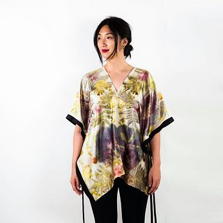 Botanical silk garden top: Hibiscus, dahlias, sunflowers
