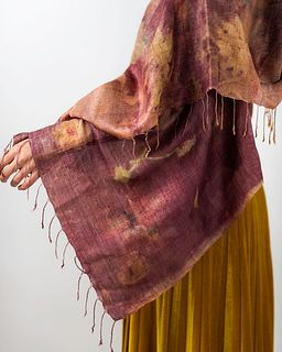 Organic silk shawl with tassels: Madder root, leaves, red, brown