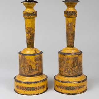 Pair of Decoupaged Tôle Lamps
