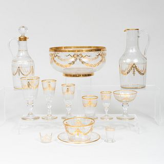 Large Group of Bavarian Gilt-Decorated Glass Tablewares