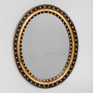 Regency Style Glass Studded Ebonized and Giltwood Mirror