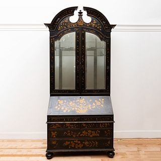 Queen Anne Style Lacquer Secretary Bookcase, of Recent Manufacture